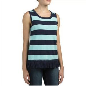 STS Fringe Striped Blue Sweater Top
